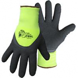 Boss Manufacturing -Arctik Blast High-Vis Textured Latex Palm Glove-Black Green-Large