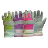 Boss Manufacturing -Ladies Split Leather Palm Glove W/Striped Top Cuff-Assorted-One Size