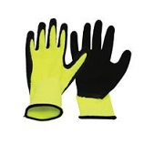 Boss Manufacturing - Mens Poly Shell Gloves With Latex Palm - Yellow/Black - Large