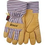 Kinco International-Lined Grain Pigskin Glove-Tan/Blue/Red-Medium