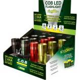 Gogreen Power - Cob Led Flashlight Display - Assorted - 12 Pc