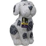 Alpine Corporation - Solar Slate Dog Garden Statue With Led Lights - 14 In