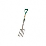 Truper Tools  - 4 Tine Spading Fork With D-Grip Handle - Steel/Wood - 30 Inch