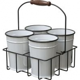 Panacea Products - Milk House Enamel Mini Bucket Planters with Carrier - 6 Inch
