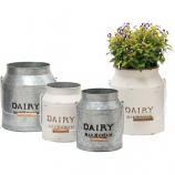 Deer Park Ironworks - Dairy Jug Planter Cream/Galvanized - Galvanized - Set Of 2
