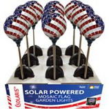Alpine Corporation - Solar Americana Mosaic Glass Glove Stake - Red/White/Blue - 4x4x33 Inch