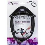 Quaker Pet Group - Sherpa Dog Collar With Built In Leash - Black - Medium