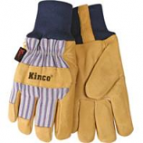 Kinco International-Lined Suede Pigskin Knit Wrist Glove-Tan/Blue/Red-Medium