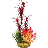 Blue Ribbon Pet Products - Color Burst Florals Blade Grass Plant - Red - Large