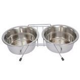 Stainless Steel Double Diner with Wire Stand for Dog or Cat - 16 oz