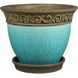 Southern Patio - Clayworks Cadiz Planter - Teal - 8 Inch
