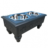 Sassy Paws Raised Wooden Pet Double Diner with Stainless Steel Bowls - Black - Medium