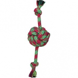 Mammoth Pet Products - Extra Fresh Monkey Fist Ball W/Rope Ends - Green/White - 18 In