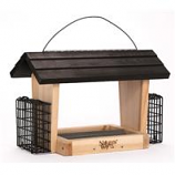 Natures Way Bird Prdts - Hopper Feeder With Suet Cages-Cedar-6 Quart Cap