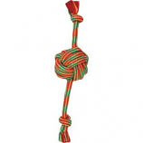 Mammoth Pet Products - Extra Fresh Monkey Fist Ball W/Rope Ends - Green/White - 13 In