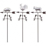 Alpine Corporation - Metal Farm Animal Weathervane Stakes - 48 In