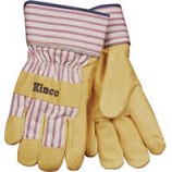 Kinco International-Grain Pigskin Leather Palm Glove-Tan/Blue/Red-Medium