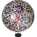 Alpine Corporation - Mosaic Flower Design Gazing Globe - 10 Inch