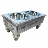 Sassy Paws Raised Wooden Pet Double Diner with Stainless Steel Bowls - Antique Gray - Large
