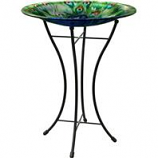 Panacea - Peacock Glass Bird Bath With Stand-Peacock-16 Inch