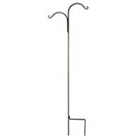 Hookery - Wrought Iron Crane Double Shepherd Hook - Black - 90 Inch
