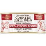 Grandma Mae's Country Naturals - Country Naturals Grain Free Cat & Kitten Chunks - Beef/Chicken - 2.8 Oz