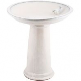 Esschert Design Usa - Ceramic Bird Bath On Pedestal With Bird - White