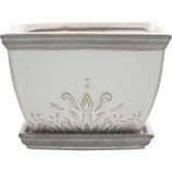Southern Patio - Clayworks Brentwood Planter Square - White - 8 Inch