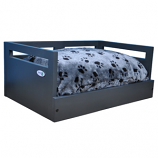 Sassy Paws Wooden Pet Bed with Paw Printed Comfy Cushion - Black - Small