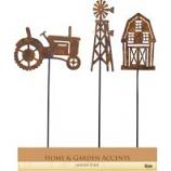 Alpine Corporation - Metal Farm Pot Stickers Tray Pack - 15 Inch