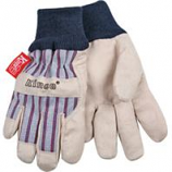 Kinco International-Lined Ultra Suede Knit Wrist Glove-Gray/Blue/Red-Child
