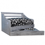 Sassy Paws Multipurpose Wooden Pet Bed with Feeder - Antique Gray - Small