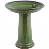 Esschert Design Usa - Ceramic Bird Bath On Pedestal With Bird - Green