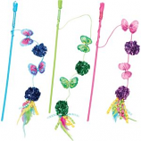 Ethical Cat - Butterfly & Mylar Teaser Wand Cat Toy - Assorted - 16 Inch