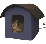 K&H Pet Products - Creative Solutions Kitty Barn Heated - Blue - 22Inx19Inx17In