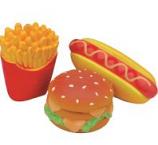 Coastal Pet Products - Lil Pals Latex Hamburger Fries & Hot Dog Toy Set - Multi - 4 Inch