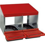 Miller Mfg - Galvanized Nesting Box with Plastic Basket - Red - Double