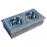 Sassy Paws Wooden Pet Double Diner with Stainless Steel Bowls - Antique Gray - Small