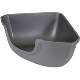 Petmate - Petmate Open Corner Litter Pan - Silver - Large
