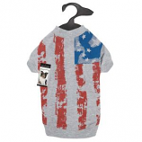 Zack & Zoey - Americas Pup Flag Print Tee - Large - Silver