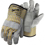 Boss Manufacturing -Stallion Side Split Leather Palm Safety Cuff Glove-Gray/Yellow-Large