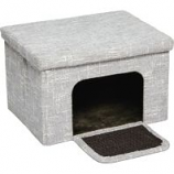 Midwest Homes For Pets - Curious Cat Cube Cottage - Silver - 17In X 13In X 1