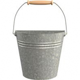 Panacea - Half Round Wall Buckets With Wood Handles-Galvanized-10.3X5.3X8.6