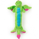 Quaker Pet Group - Godog Dragons Skinny Durable Plush Squeak Dog Toy - Green - Small