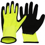 Boss Manufacturing -V2 Flexigrip High-Vis Latex Palm Gloves For Men-Black/Yellow-Extra Large