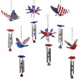 Exhart - Patriotic Windywings Wind Chimes Asst - Red/White/Blue - 7 Inch/24 Piece