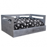 Sassy Paws Wooden Pet Bed with Paw Printed Comfy Cushion - Antique Gray - Small
