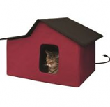 K&H Pet Products - Creative Solutions Outdoor Multi-Kitty Heated Home - Red - 21.5Inx26.5Inx1