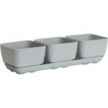 Novelty Mfg - Herb Trio With Attached Tray - Grey - 4 Inch