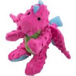 Quaker Pet Group - Godog Dragons Durable Plush Squeaker Dog Toy - Pink - Large
